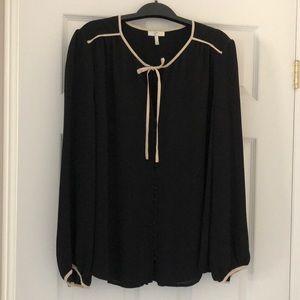 Joie 100% Silk Black Blouse with Blush Trim Sz L